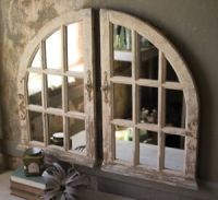 Arched Window Pane Wall Mirrors Vintage Distressed French ...