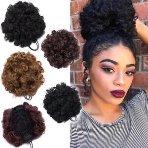 Afro Ponytail Puff Drawstring Wrap Natural Curly Hair Bun Updo
