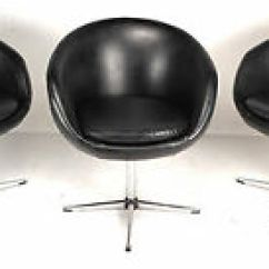 Swivel Pod Chair Reclining Office Chairs Leather Set Of Three Mid Century Modern Overman Style Image Is Loading