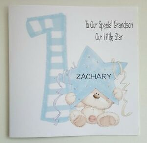 LARGE PERSONALISED 1ST BIRTHDAY CARD GRANDSON NEPHEW SON