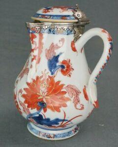 18th Century Kangxi Chinese Imari Silver Mounted Coffee Pot 6 3/4 Inches