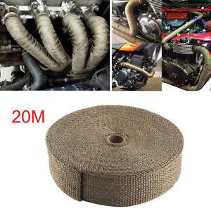 details about 20m titanium exhaust heat wrap exhaust manifold gold high temp insulating