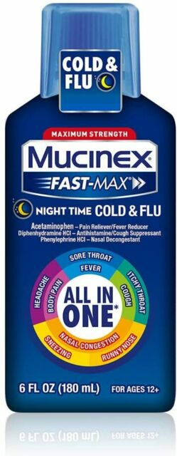 Mucinex Fast Max Medicine Night Time Cold Cough Flu All In ...