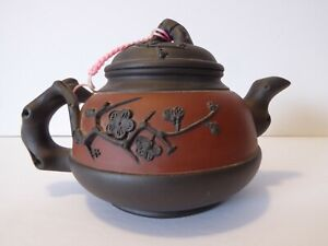 Chinese yixing zisha plum flower branch red brown clay teapot