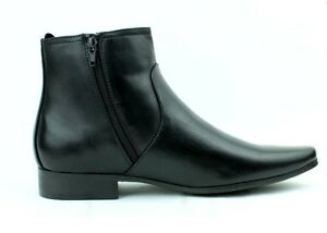 Mens Chelsea Leather Style Boots Zip Up Ankle Boots Formal