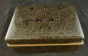 """Antique Chinese Black Enamel Cloisonné Box w/Floral Designs. 4 5/8"""" x 3"""""""