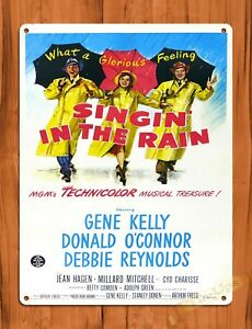 details about vintage retro singing in the rain movie art poster musical tin ups tin sign
