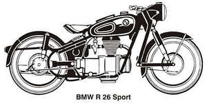 BMW R26 SPORT VINTAGE MOTORCYCLE ART GRAPHIC DRAWING