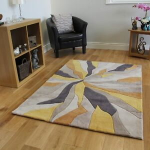 living room rugs clean ideas modern ochre yellow abstract area new thick soft polyester image is loading