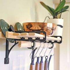 Kitchen Shelf Brackets One Handed Equipment Rack 6 Wooden Laths And Solid Cast Iron Image Is Loading