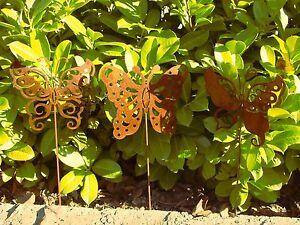 Das Bild Wird Geladen Edelrost Rostdeko Schmetterling Ostern Metall Fruehling Gartendeko Stecker
