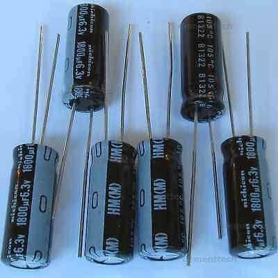 6x 1800uf 6 3v Nichicon Hm Low Esr Impedance 8mm Radial Capacitors Caps 105c Ebay