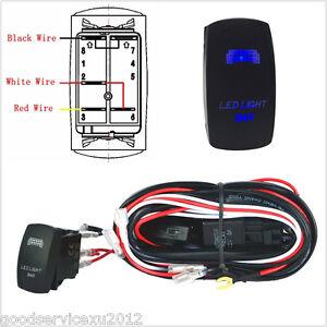 Car 12V Wiring Harness Blue LED Light Bar Laser Rocker Switch On