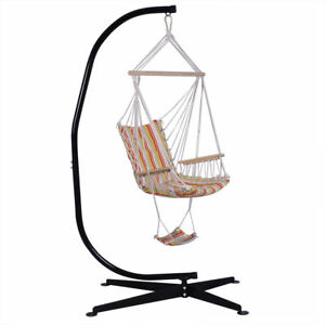 swing chair with stand kuwait cover rental london ontario steel c frame porch hammock free standing indoor image is loading