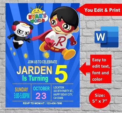 personalized ryan s world birthday party invitation printable digital invite ebay