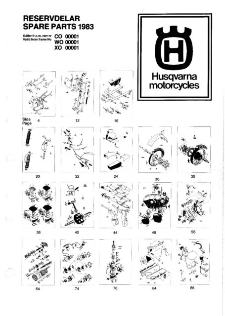 Husqvarna Parts Manual Book 1983 WR 250, CR 250 & XC 250