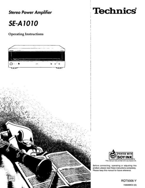 Technics SE-A1010 Amplifier Owners Instruction Manual