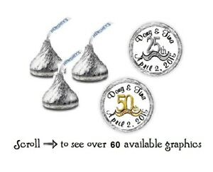108 Personalized Anniversary Hershey Kiss Candy Labels