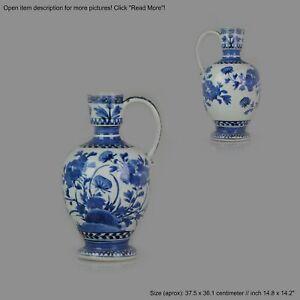 Antique Japanese Plate ca 1670-1700 Arita Japan Porcelain Jug Flowers Bl...