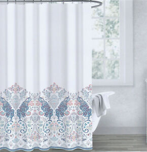 details about envogue cotton fabric shower curtain peacocks teal coral silver periwinkle new
