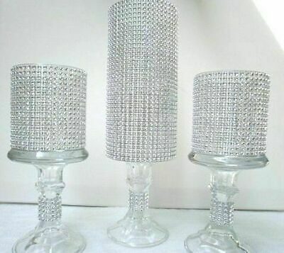 3 bling rhinestone cylinder vases wedding glass table centerpiece candleholders ebay