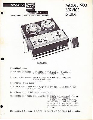 SONY SERVICE MANUAL for a MODEL 900 PORTABLE AUDIO TAPE