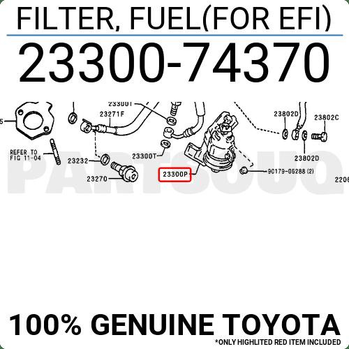 2330074370 Genuine Toyota FILTER, FUEL(FOR EFI) 23300