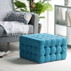 Teal Tufted Chair Wedding Covers Cheap Uk Ottoman Bench Stool Foot Modern Furniture