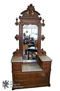 Antique Washstand 2 Tier Marble Top Eastlake Washstand W Mirror Dresser Walnut  eBay