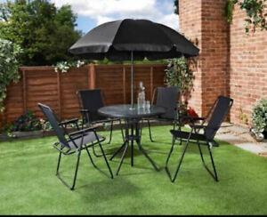 details about al fresco milano 6 piece patio set chairs table parasol brand new free p p