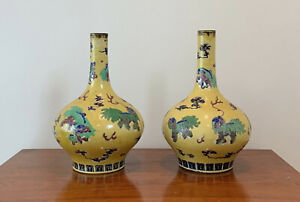 FINE PAIR CHINESE YELLOW VASES, ESTATE FIND,wucai, shishi