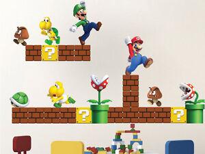 super mario bros wall decals nintendo wallpaper stickers mario game