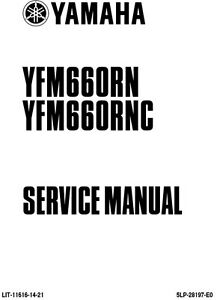 New Yamaha YFM 660 RN RNC Raptor Repair Service Manual