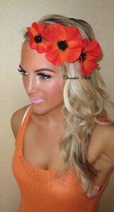 red orange poppy flower gold hair