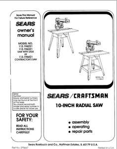 Craftsman 113.196221 113.196321 113.196421 Radial Saw