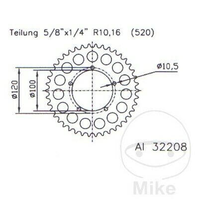 Esjot Rear Sprocket 41T 520P ALU Silver Aprilia RS 125