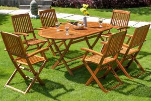 details sur salon de jardin boston 1 table et 6 chaises en bois d acacia mobilier terrasse