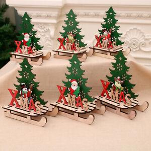 Diy Wooden Christmas Scene Decoration Kit Diy Santa Sleigh Tree Reindeer Ebay