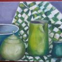 """""""The Greens"""" Pottery Still Life Original Oil on Canvas Painting GH Initialed"""