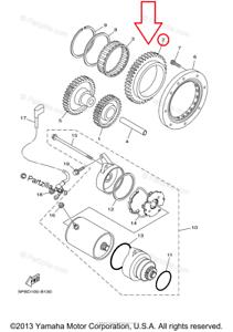 Yamaha OEM Gear Idler 2 For Starter Clutch For 2002-2009