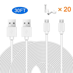 MOYEEL 2-Pack 30Ft Power Extension Cable for Wyze Cam/Wyze