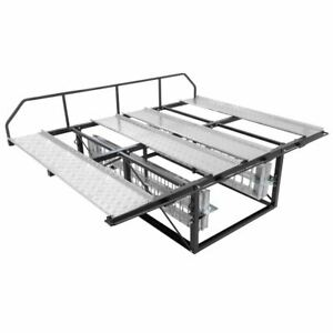 details about pickup truck bed double atv carrier rack with loading ramps 2 000 lb capacity