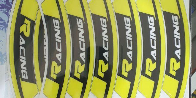 adesivi grafiche moto per cerchi in Crystal Blackbird cross enduro giallo fluo