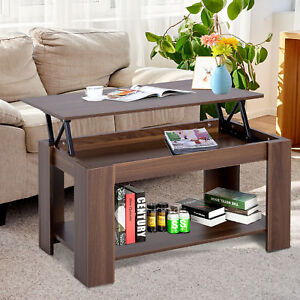 details about 100cm modern lift up top coffee table desk hidden storage bottom shelf living