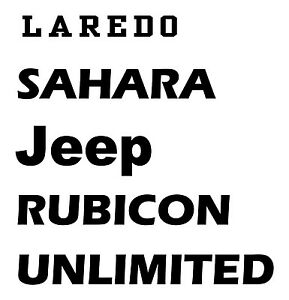 Jeep, sahara, rubicon or custom text hood winshield decal
