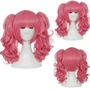 pink cosplay anime wig short curly