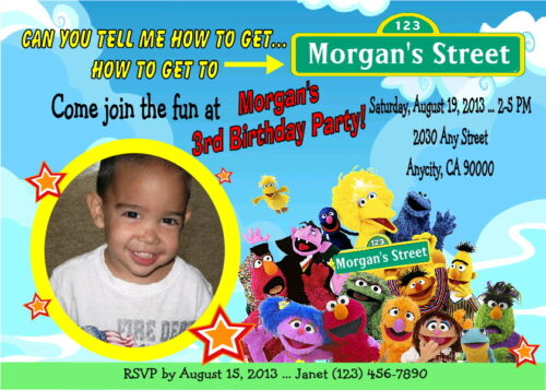 specialty services sesame street personalized printable birthday party invitation free ty card com