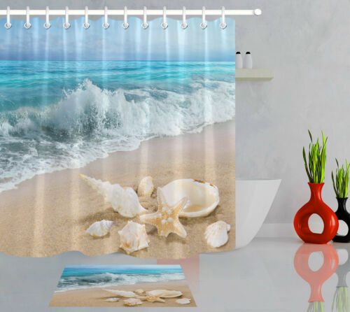 home garden sandy beach starfish conch shell sea wave polyester fabric shower curtain set bathroom supplies accessories