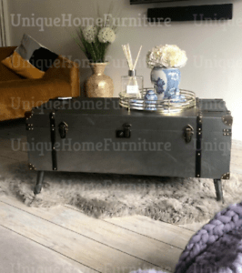 details about industrial coffee table metal vintage blanket large storage box old trunk chest