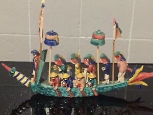 STUNNING ANTIQUE CHINESE GLAZED POTTERY BOAT WITH FIGURES